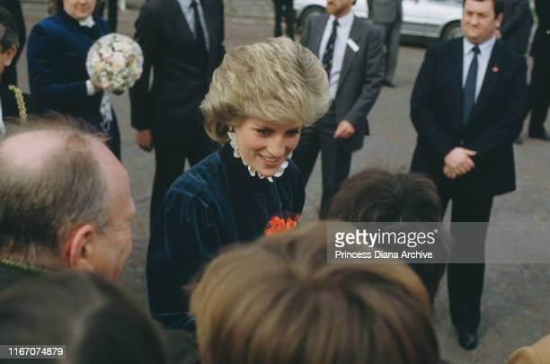 Diana, Princess of Wales wearing a Caroline Charles velvet suit during a visit to Cardiff in Wales, March 1986.
