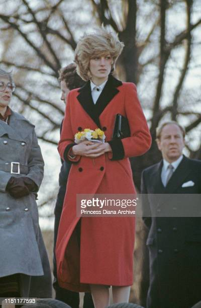 Diana, Princess of Wales wearing a Catherine Walker coat to the Charlie Chaplin Adventure Playground for handicapped children in Kennington, South...