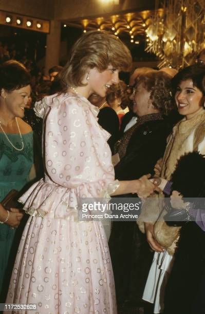 Diana Princess of Wales wearing a Catherine Walker evening gown to a Royal Gala Concert at the concert hall in Melbourne Australia April 1983