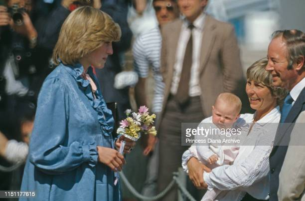 Diana, Princess of Wales wearing a Catherine Walker maternity dress at St Mary's on the Isles of Scilly, April 1982.