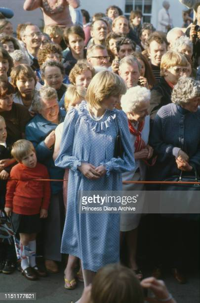 Diana Princess of Wales wearing a Catherine Walker maternity dress at St Mary's on the Isles of Scilly April 1982