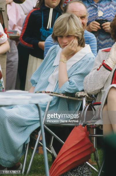 Diana, Princess of Wales wearing a Catherine Walker maternity dress at a polo match in Brockenhurst, Hampshire, May 1982.