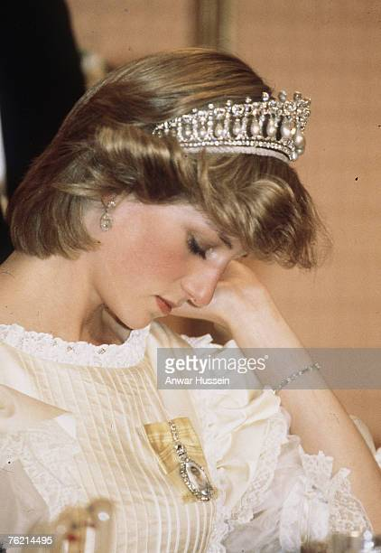 Princess Diana Princess of Wales wearing a tiara looking tired during a visit in New Zealand in April 1983