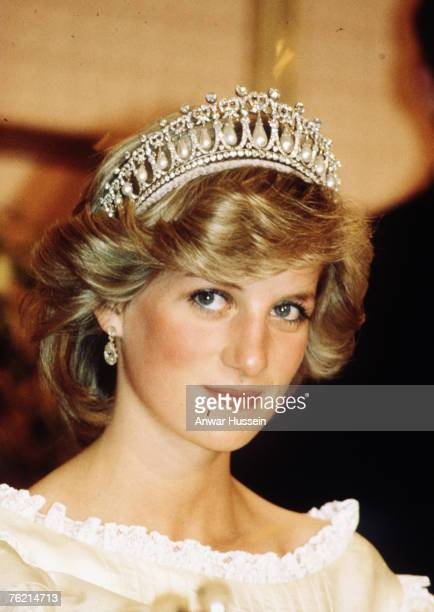 Princess Diana Princess of Wales looks thoughtful while wearing a tiara in New Zealand during April 1983