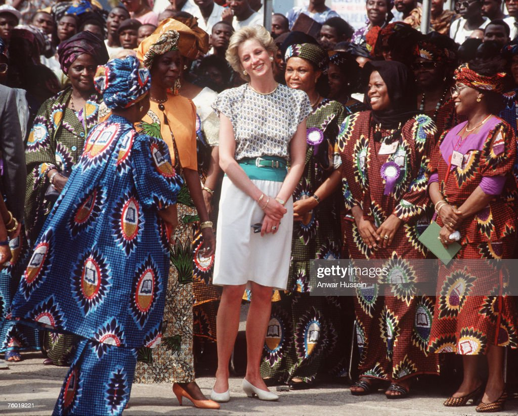 Diana, Princess of Wales, smiles with the locals in Cameroon.