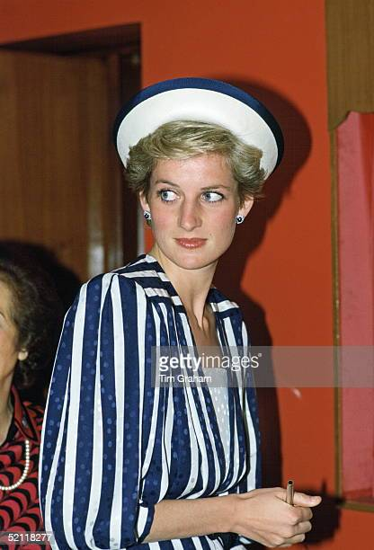 Diana Princess Of Wales wearing a dress designed by the Emanuels looking Thin During A Visit To Bahrain