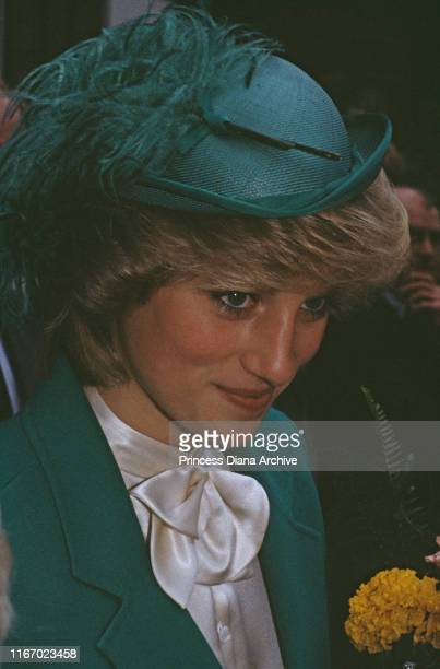 Diana Princess of Wales wearing a green jacket and hat during a visit to Bethnal Green in London November 1983