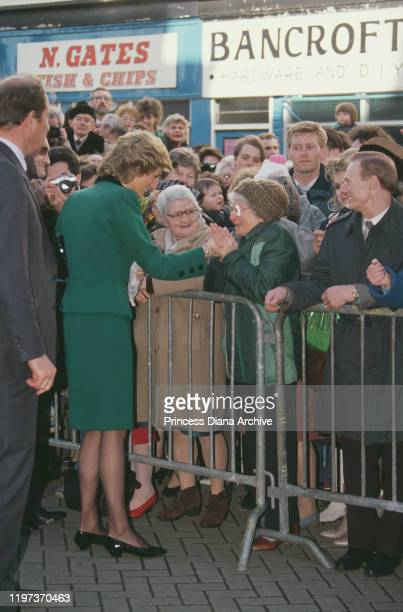 Diana Princess of Wales wearing a green suit by Victor Edelstein during a visit to Nelson in Lancashire UK February 1989