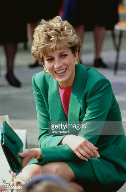 Diana, Princess of Wales wearing a green suit during a visit to Belper in Derbyshire, UK, 28th April 1992.