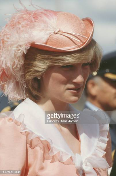 Diana Princess of Wales wearing a hat by John Boyd during a garden party in Canberra Australia March 1983