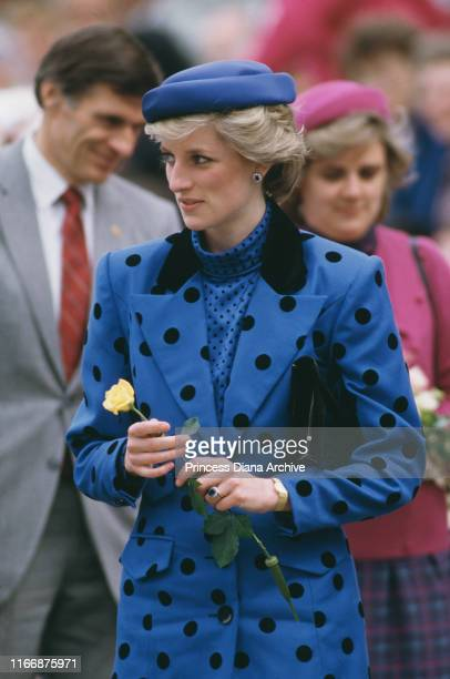Diana, Princess of Wales wearing a Jan Van Velden suit and a Graham Boyd hat during a visit to Kamloops in British Columbia, Canada, May 1986.