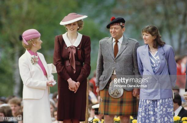Diana Princess of Wales wearing a Jan Van Velden suit and a John Boyd hat during a visit to Kamloops in British Columbia Canada May 1986