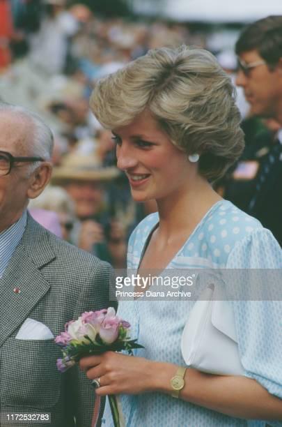 Diana, Princess of Wales wearing a Kanga dress during a polo match in Wellington, Palm Beach County, Florida, USA, 12th November 1985.