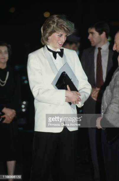Diana, Princess of Wales wearing a Margaret Howell tuxedo as she leaves Birmingham airport in England, February 1984.