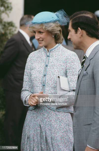 Diana, Princess of Wales wearing a Miss Antoinette suit and a John Boyd hat during a visit to Sovereign Hill in Ballarat, Victoria, Australia, 15th...