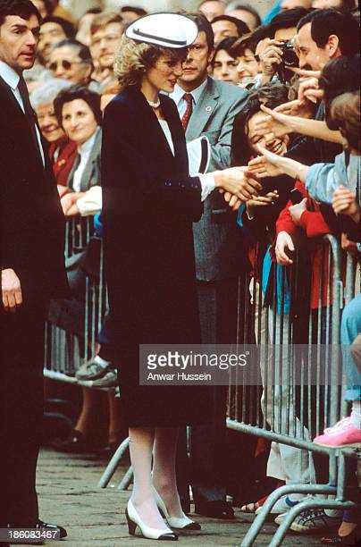 Diana Princess of Wales greets the public during a tour of Italy on May 01 1985 in Italy