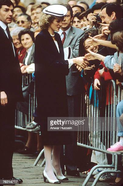 Princess Diana Princess of Wales greets the public during a visit to Italy in April 1985