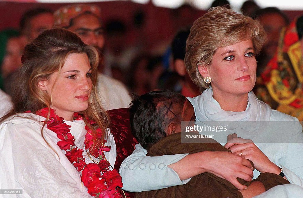 The Princess of Wales cradles a sick child in her arms while she sits with Jemima Khan during her visit to the former Pakistani cricket captain Imran Kahn's hospital in Lahore April, 1996 in Lahore, Pakistan. Imran Khan and Jemima Khan have today announced they have divorced after 9 years of marriage, on June 22, 2004. Jemima - the daughter of multimillionaire British businessman James Goldsmith - and Khan have two sons. Khan led Pakistan to victory in the cricket World Cup in 1992 and later formed his own political party in 1996.