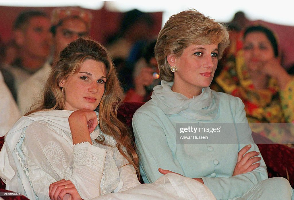The Princess of Wales and Jemima Khan (L) during their visit to Imran Khan's cancer hospital in Lahore April, 1996 in Lahore, Pakistan. Imran Khan and Jemima Khan have today announced they have divorced after 9 years of marriage, on June 22, 2004. Jemima - the daughter of multimillionaire British businessman James Goldsmith - and Khan have two sons. Khan led Pakistan to victory in the cricket World Cup in 1992 and later formed his own political party in 1996.