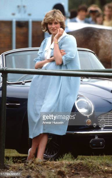 Diana, Princess of Wales, wearing a pale green maternity dress with a white collar designed by Catherine Walker, while pregnant with Prince William,...