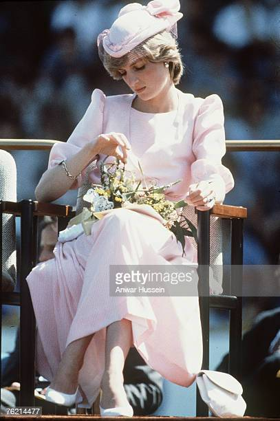 Princess Diana Princess of Wales looks pensive during a visit to Australia in 1983