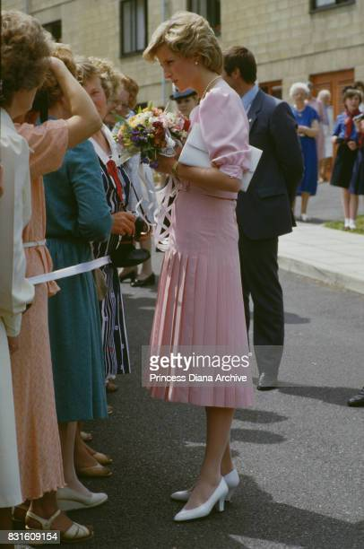 Diana Princess of Wales wearing a pastel pink dress by Catherine Walker during a visit in Bath 31st May 1985