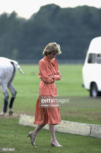 June 20 1985 photo of Princess Diana Princess of Wales at the Guards Polo Club in Windsor after spending the day at Royal Ascot