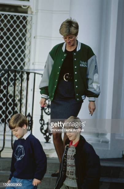 Diana, Princess of Wales wearing a Philadelphia Eagles jacket to drop off her son Prince Harry at Wetherby School in London, January 1991. Prince...