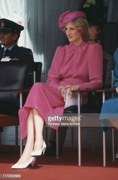 Diana, Princess of Wales wearing a pink Donald Campbell suit at the Perth Hockey Stadium in Bentley, Australia, 7th April 1983.