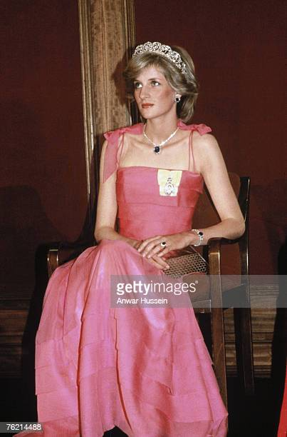 Princess Diana Princess of Wales wearing a Spencer family tiara attends a function in her honour in Brisbane during her official visit to Australia...