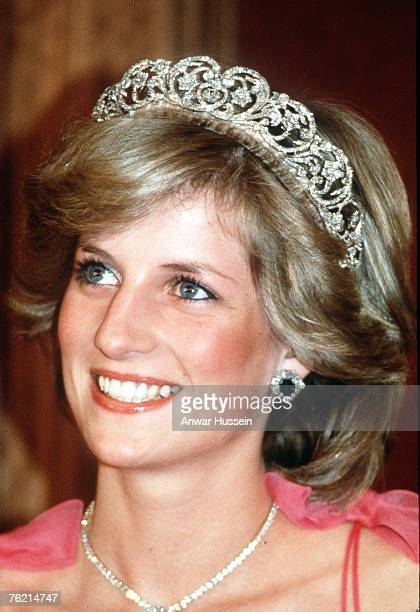 Princess Diana Princess of Wales smiles while wearing the Spencer Family Tiara at a State Reception in Brisbane Australia in April 1983
