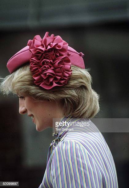 Diana, Princess Of Wales, Wearing A Pink Hat With A Silk Rosette On One Side Designed By Milliner John Boyd Which The Princess Has Teamed With A Silk...