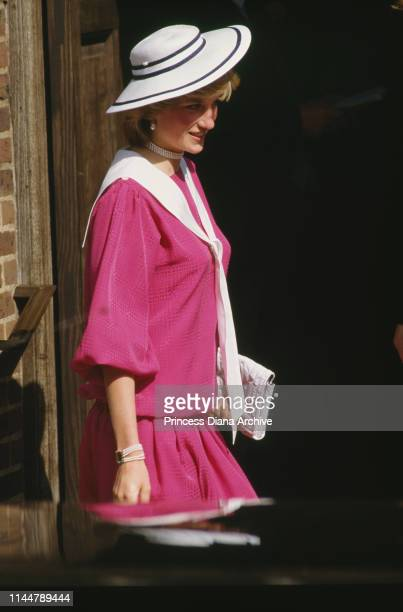 Diana, Princess of Wales , wearing a pink outfit at the wedding of her former flatmate Carolyn Pride and William Bartholomew, London, 3rd September...
