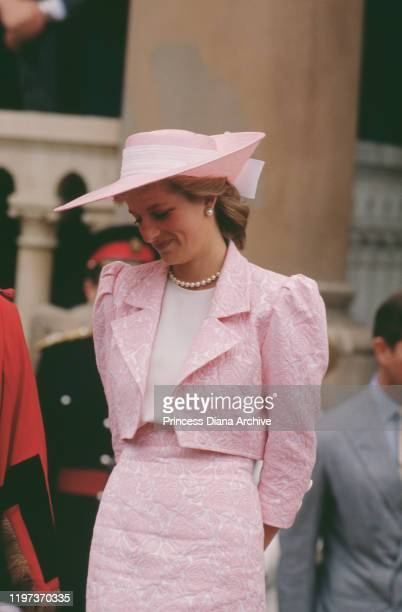 Diana, Princess of Wales wearing a pink suit by Catherine Walker and a matching Philip Somerville hat during a visit to Northampton to receive the...
