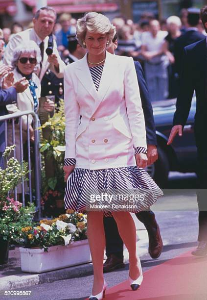 Diana Princess of Wales wearing a puffball skirt and a white jacket at the Cannes Film Festival Cannes France 15th May 1987