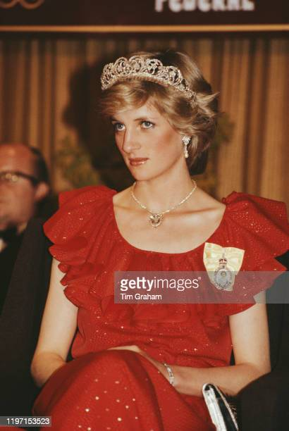 Diana, Princess of Wales wearing a red Bruce Oldfield gown to a state reception at the Wrest Point Federal hotel in Hobart, Tasmania, 30th March...