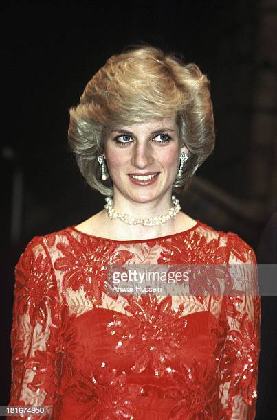 Diana Princess of Wales wearing a Jan Van Velden wed evening dress visits the ballet on February 11 1984 in Oslo Norway
