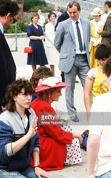 Princess Diana Princess of Wales with her bodyguard Barry Mannakee at an International Deaf Youth Rally at Atlantic College in June 1985 in Wales A...