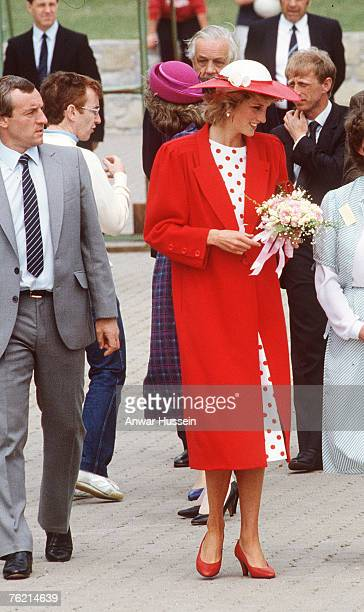 Princess Diana The Princess of Wales with her bodyguard Barry Mannakee at an International Deaf Youth Rally at Atlantic College in June 1985 in Wales...