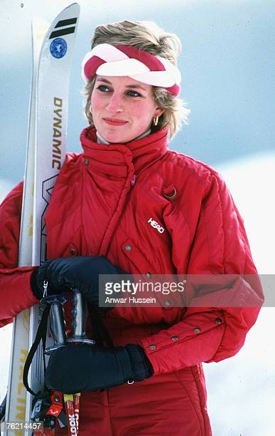 Princess Diana Princess of Wales wearing red ski gear and a red and white head band enjoys a skiing holiday in Klosters Switzerland in February 1986