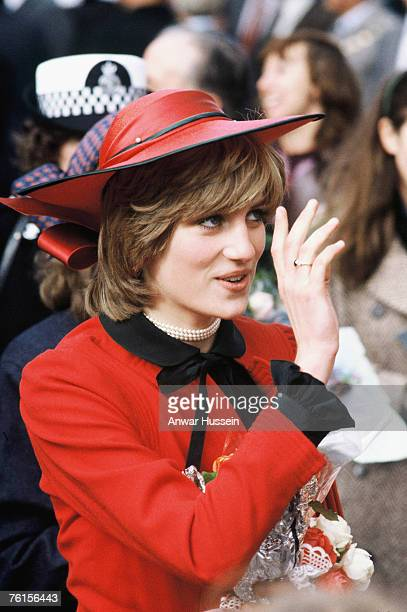 Diana Princess of Wales waves to well wishers during her tour of North Wales in October 1981