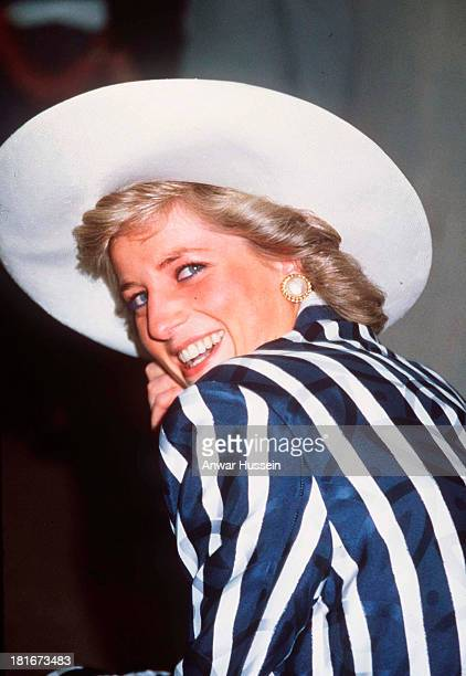 Diana Princess Of Wales wearing a Klein suit smiles during an official Tour Of Australia on January 27 1988 in Melbourne Australia