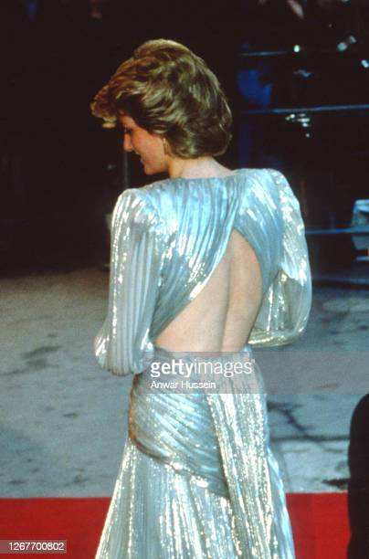 Diana, Princess of Wales, wearing a silver lame dress with an open back designed by Bruce Oldfield, attends the Film Premiere of the James Bond film...