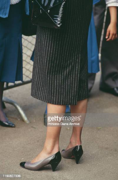 Diana Princess of Wales wearing a striped coatdress by Catherine Walker during a visit to Battersea Park in London to see the Moscow State Circus 5th...