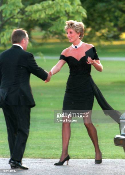 Diana, Princess of Wales, wearing a stunning black dress commissioned from Christina Stambolian, attends the Vanity Fair party at the Serpentine...