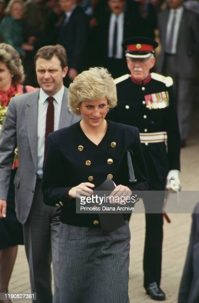 Diana, Princess of Wales wearing a suit by Catherine Walker during a visit to Newcastle and Stoke-on-Trent in the north of England, 19th April 1988.