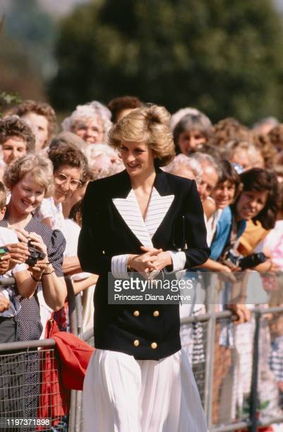 Diana, Princess of Wales wearing a suit by Catherine Walker during a visit to Chelmsford College in Essex, to open the new Princes Road campus, 6th...