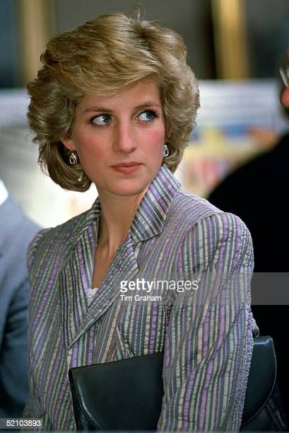 Diana Princess Of Wales Wearing A Suit Designed By Fashion Designer Bruce Oldfield At An Event On Behalf Of The Charity Birthright In Regent's Park