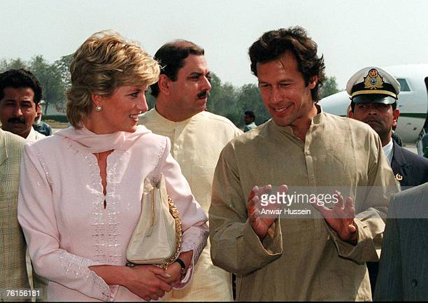 Diana The Princess of Wales wearing a tradional shalwar kameez is welcomed to Lahore Pakistan by Imran Khan in April 1996