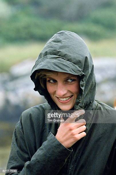 Diana Princess Of Wales Wearing A Waterproof Barbour Style Jacket In The Rain During A Visit To The Western Isles Of Scotland
